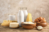 Set of different dairy products on table