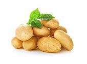 Organic raw potatoes on white background