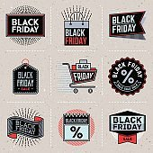Black Friday Color Insignias icontypes Template Set. Line Art Vector Elements.