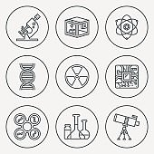 Science Technology Circle Round Icon Set. Line Design Vector Illustrations.