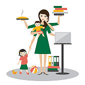Multitask woman. Mother, businesswoman with baby, older child, working, cooking