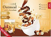 Instant oatmeal with chocolate and hazelnut advert concept.