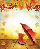 Nature autumn background with colorful leaves and an umbrella. Vector.