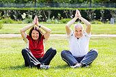 Couple Practising Yoga In Park
