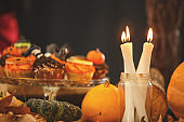 Candlelight on the Halloween table