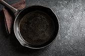 Cast iron pan on black