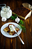 Sandwich of fried toasts with garlic melted cheese
