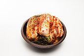 Kimchi on a crock head dish isolated