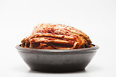 Kimchi on a crock head dish isolated