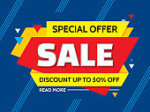 Sale - concept banner vector illustration. Special offer creative layout. Discount up to 50% off. Abstract geometric design.