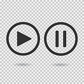 Play button and pause button. Icons with shadow on transparent background. Isolated sign for web.