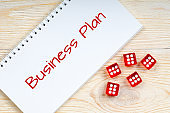 business plan, concept with casino dices