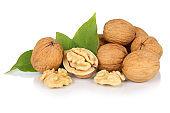 Walnuts walnut fresh nuts nut nutshell isolated on white