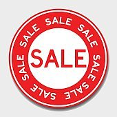 Red sale banner on white background