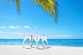 Tropical beach wedding setup