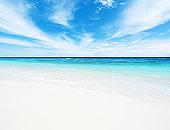 Tropical beach ,sea and blue sky background