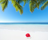 Tropical beach christmas vacation concept