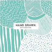 Hand drawn pattern, vector green floral texture.