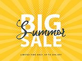 Big Summer Sale sign with retro pop art halftone background. Vector web banner template illustration