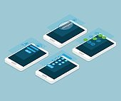 mobile screen lock isometric vector