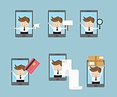set of businessman with mobile smartphone