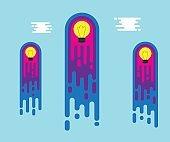 bulb idea flying to sky flat design