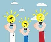 human hand with bulb idea vector illustration