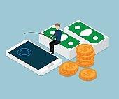 businessman fishing money from smartphone isometric