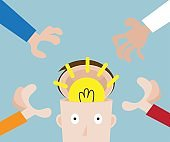 hands pick bulb idea in human head