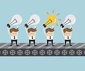 businessman standing with bulb idea