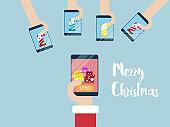 merry christmas on mobile smartphone