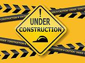 under construction sign label background