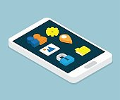 smartphone with application isometric
