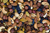 Background mix of nuts and raisins