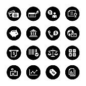 Banking and Finance Circle Icons Set