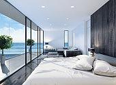 Modern resort hotel interior bedroom