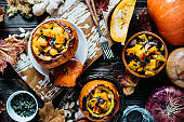 Baby Pumpkins Filled with Roasted Pumpkin