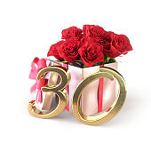 birthday concept with red roses in gift isolated on white background. thirtieth. 30th. 3D render