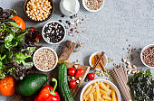 Vegetarian food background. Healthy, diet food concept. Free space, flat lay