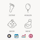 Footprint, baby boy and child toilet icons.