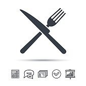 Fork and knife icons. Cutlery sign.