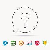 Dental implant icon. Oral prosthesis sign.