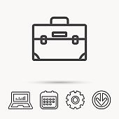 Briefcase icon. Business case sign.