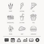 Hamburger, pizza and soft drink icons. Tea bag.