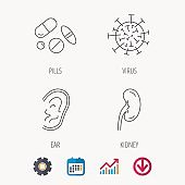Medical pills, virus and ear icons.