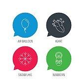 Newborn, heart and air balloon icons.