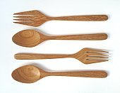 Spoons and forks made of wood