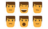 Set of cartoon face emotions with minimalism style.