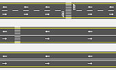 Vector Seamless asphalt road and highway types from top view.