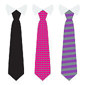 Vector Neck ties set with trendy solid flat color style.